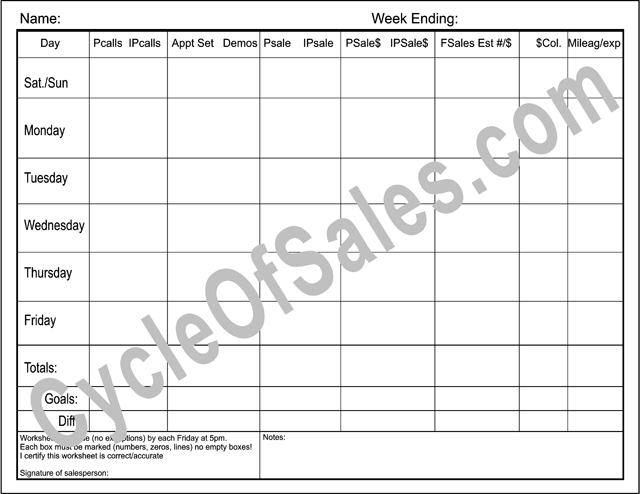 Direct Sales Weekly Worksheets – Sales Sheets Templates